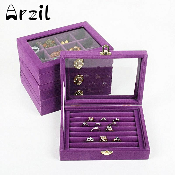 5pcs Velvet Jewelry Wood Ring Display Organizer Box Tray Holder Earring Storage Case Purple