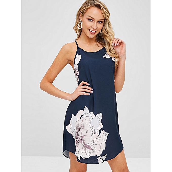 f7762cbc3f ZAFUL Floral Print Shift Spaghetti Strap Dress,Dark Blue @ Best ...