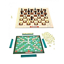 2-in-1 Chess & Scrabble Set Classic Board Game Educational Learning Toy
