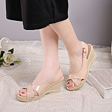9717f265708 Jiahsyc Store Summer Women Fish Mouth Slope Wedge Sandals Shoes Woman  Office Ladie Shoes KH