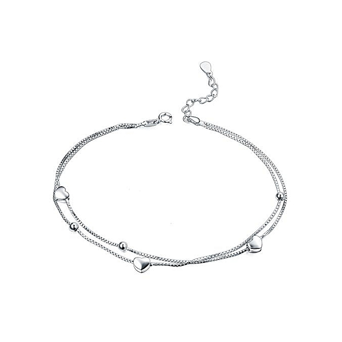 Simple Hearts Two Lines 925 Sterling Silver Bracelet Anklet