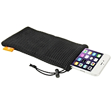Nylon Mesh Pouch Bag With Stay Cord For Up To 5.5 Inch Screen Phone, Size: 18.5cm X 9cm(Black)