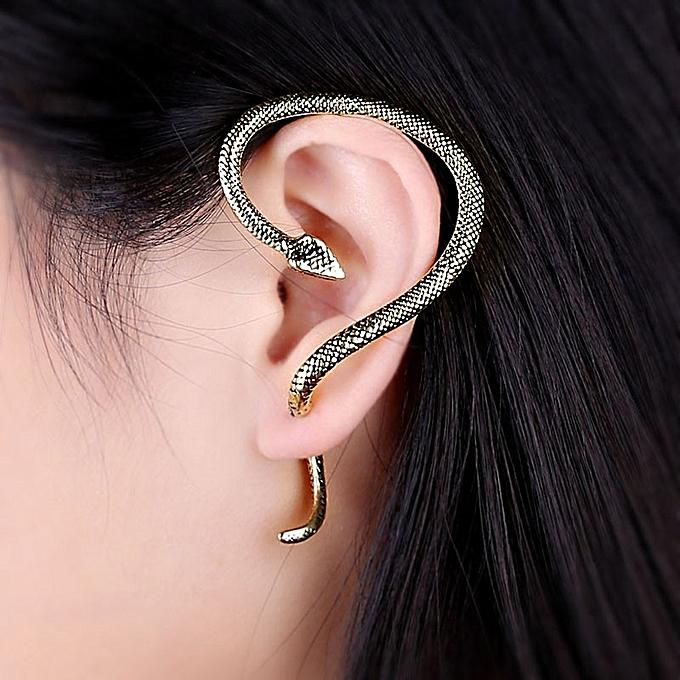 Gothic Punk Snake Wind Temptation Silver Ear Stud Cuff Earring Sl
