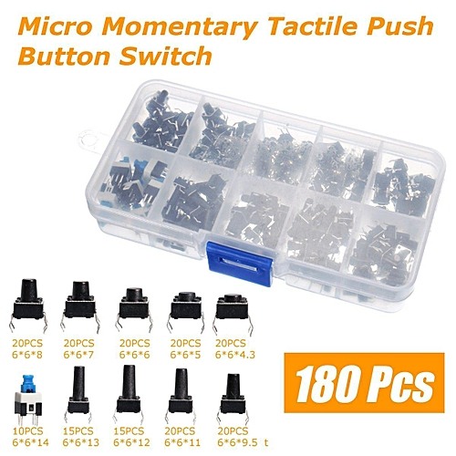 Ocr TM 10 Value 180Pcs Tactile Push Button Switch Micro Momentary Assortment
