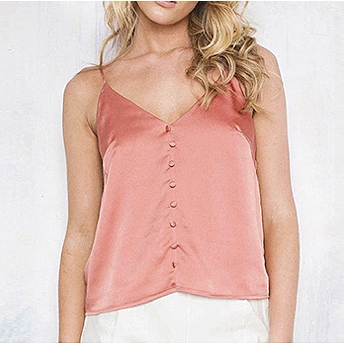 2310aeff5a Fashion Women Sexy Satin V-Neck Backless Button Tank Top @ Best ...
