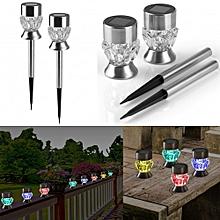 LED Solar Garden Lights Diamond Solar Garden Stake Lights Auto Sensor Function -silver