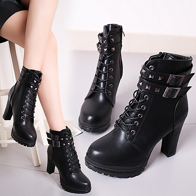 20b463332cc6 Women Sexy High Heels Platform Ankle Boots Thin Heel Lace-Up Boots Shoes BK