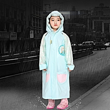 Age 3-12 Kids Reusable Raincoat Hooded With School Bag Cover, Pockets, Hood, And Sleeves(Blue XL)
