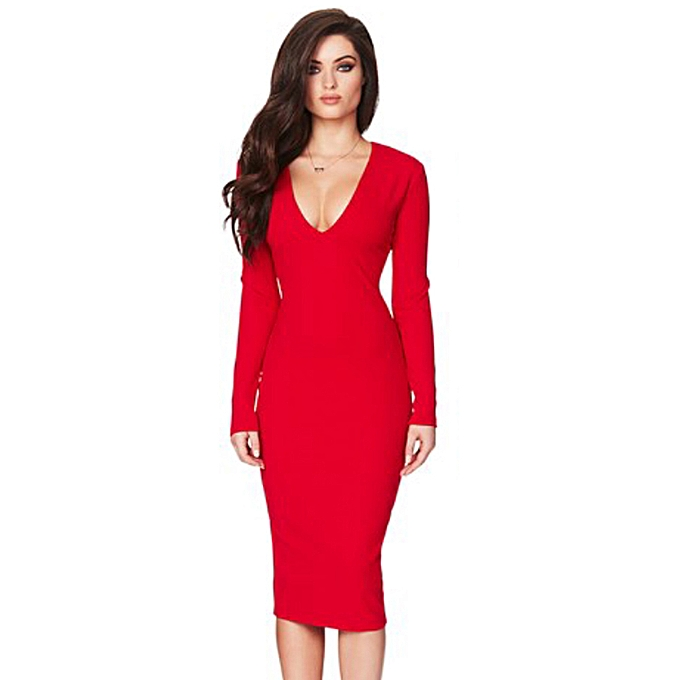 Sexy Women Bodycon Dress Cut Out Bandage Deep V-Neck Long Sleeves Backless  Party Club 4a5e32676