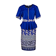Fashionable Skirt suit- Blue, Black and White in color