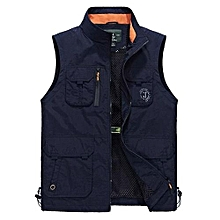 AFS JEEP Men Outdoor Plus Size Stand Collar Fashion Water Repellent Fishing Vest Royal