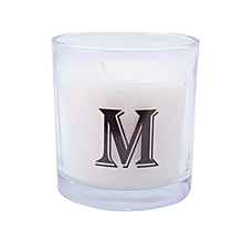 """Letter """"M"""" Alphabet Scented candle - White"""