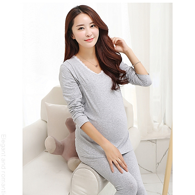 89cac5a2193f3 (Maternity Tops+Pants) Autumn Winter Nursing Pajamas Maternity Clothes  Cotton Pregnant Pajama Set