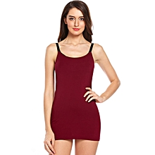Women Spaghetti Straps Sleeveless Solid Breastfeeding Nursing Tank Top Pregnancy Undershirt ( Red )