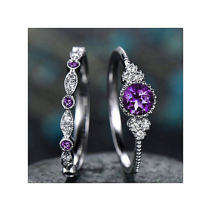 2Pcs/Set 2019 Luxury Green Blue Stone Crystal Rings For Women Sliver Color  Wedding Engagement Rings Jewelry Dropship bagues pour