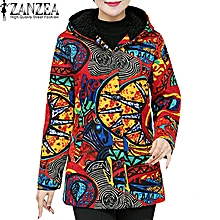 2453cb7651a0f3 ZANZEA Women Printed Floral Vintage Hooded Outerwear Top Coat Fleece Jacket  Red