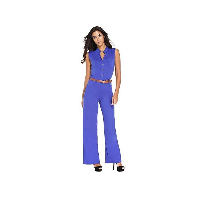 62f3c600f91 Popular S-2XL Plus Size Large Casual Belted Wide Leg Full Length Women  Jumpsuit Jumpsuits