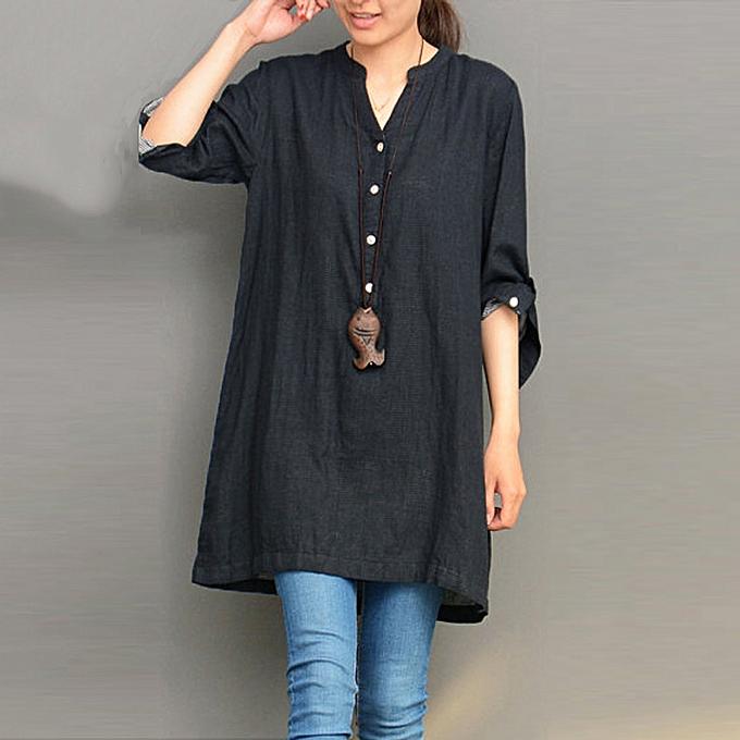 c24230e9b47 Fashion Women V Neck Fold Long Sleeve Casual Loose Tops Shirt Dress ...