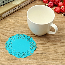 6 Pieces 2016 New Hot Beautiful Silicone Coasters Random 6 Pack Color Round Drink Coasters Lace Stain Resistant Placemat