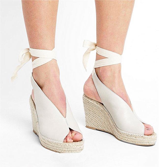 77e51c463c9 TCE Women's Ladies Strap Ankle Lace Up Peep Toe Platform Wedges Sandals  Roman Shoes
