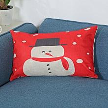 Merry Christmas Print Pillowcase Linen Cotton Sofa Cushion Cover Home Decor