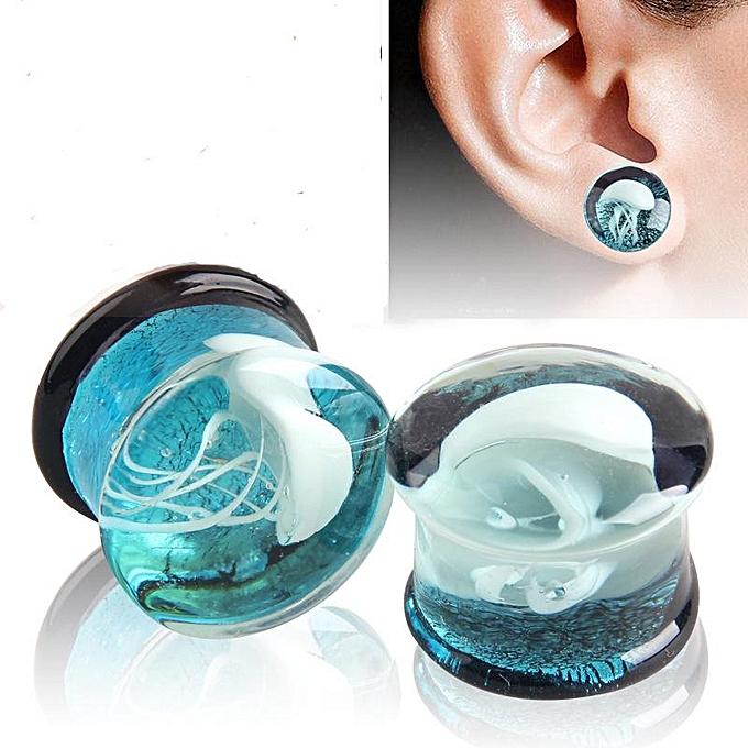1pc Fashionable Women Men Glass Flesh Tunnel Ear Plugs Piercing Decoration 8mm