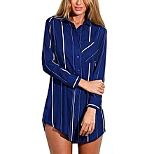 YOINS  Spring New Arrival Navy Striped Boyfriend Shirt Fashion Lapel Long Sleeve Woman Blouse Casual Slim Long Top Sexy XXXL