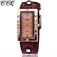 Lady  Leather Wrist Watch CCQ CCQ Women's Casual Quartz Leather Band Newv Strap Watch Analog Wrist Watch-Coffe