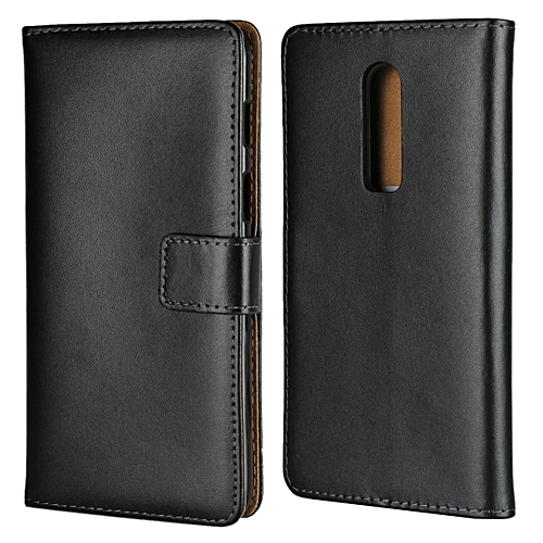 new product b0fc1 3c4d3 Real Leather Wallet Case Cover for OnePlus 6