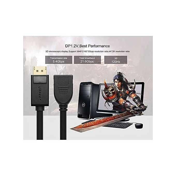 Ugreen 1m DisplayPort Male To Female Extension Cable Support 4K Resolution ( Black) | Buy