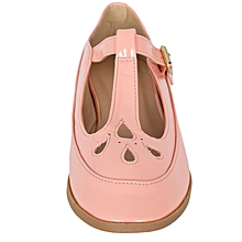 Peach Flat Mary Jane Shoes With Buckle