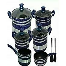 Non Stick Cooking Pots -10 Pieces- Blue