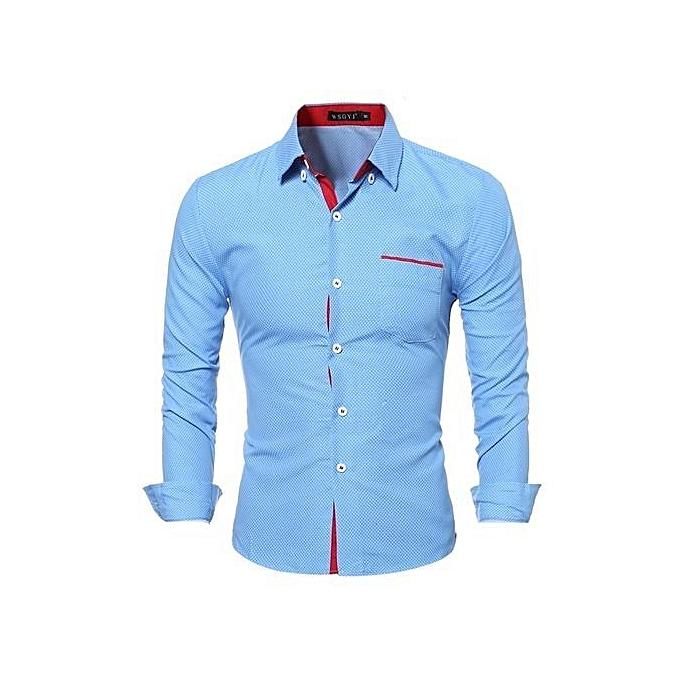Men Clothes Slim Fit Men Long Sleeve Shirt MenvCasual Men Shirt Social Plus Size-blue