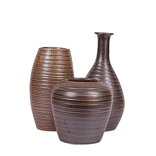 Buy Misaki Ceramic Vase Set Dark Brown Best Price Online Jumia