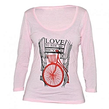 Pink Women's Printed Long sleeved Top