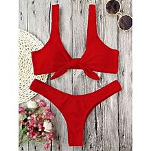 Bikini Knotted Padded Thong-RED