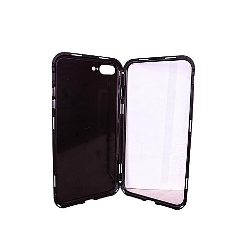new product fe962 c4e80 Ultra Slim Magnetic Adsorption Metal Frame Tempered Glass Back Magnet Flip  Case for iPhone X - Black