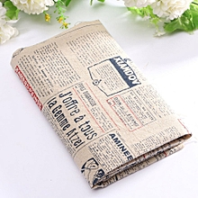 Vintage Europe Styles Natural Cotton Linen Fabric Cloth Sewing Craft Remnants Newspaper