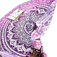 Round Gradient Color Beach Mats Sunscreen Shawl - Purple