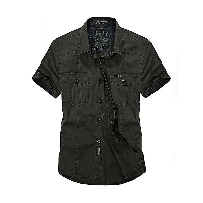 promotion super quality hottest sale AFSJEEP Outdoor Sport Cotton Breathable Multi Pockets Cargo Short Sleeve  Dress Shirts for Men Army Green