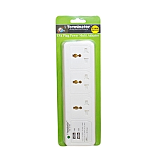 TMA 3U-WOS	- 3-Way Universal Socket Multi Adaptor + 2 USB Sockets (2A) - White