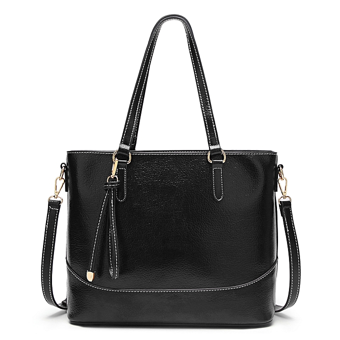 d9fe81a28fe8 ... French simple retro tote bag for ladies oil wax leather waterproof  casual shoulder bag ...