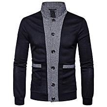 Mens' Autumn Winter Patchwork Stand Neck Sweatshirt Tops Blouse- Black