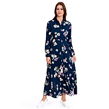 Navy Blue Floral Fashionable Dress