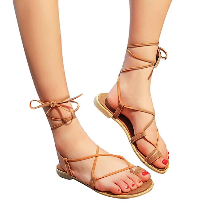 4d794f98f32 Blicool Shop Women Sandals Women Cross Strap Roman Gladiator Sandals  Strappy Thong Flat Flip Flops Shoes ...