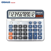 OSALO OS-6815 Desktop Electric Calculator Counter ABS 12-digit LCD Display Solar & Battery Power Source for Home Office School