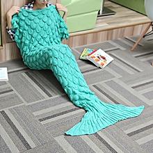 180x90 Yarn Knitting Mermaid Tail Blanket Wave Stripe Warm Bed Mat Super Soft Sleep Bag