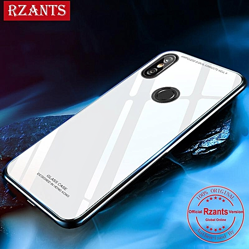 brand new b1582 be0a5 For Xiaomi Redmi S2 Case Glass Shockproof HD Tempered Glass Mirror Back  Cover TPU Bumper (White)