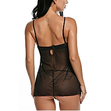 Avidlove Stylish Lady Women Strap Sleepwear Nightwear Sexy Lace Mesh See-through Lingerie Set With G-string
