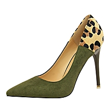 Leopard Thin High Heel Stiletto Shallow Pointed Pumps (Green)